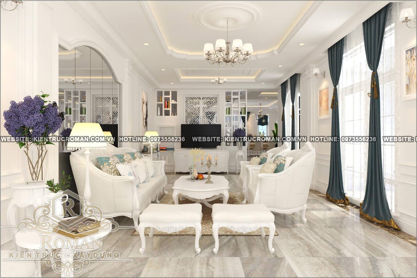 thiết kế nội thất phòng khách tân cổ điển 8