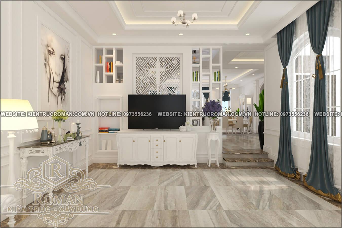 phòng khách thiết kế cải tạo biệt thự cổ điển