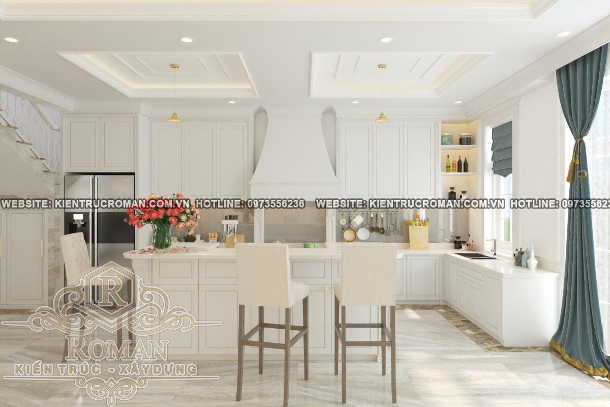 nhà bếp phòng ăn thiết kế cải tạo biệt thự cổ điển