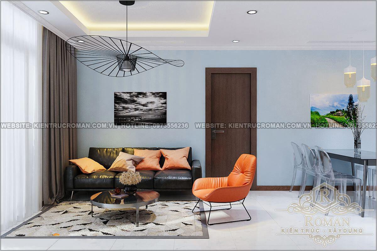 phòng khách thiết kế căn hộ 2 phòng ngủ
