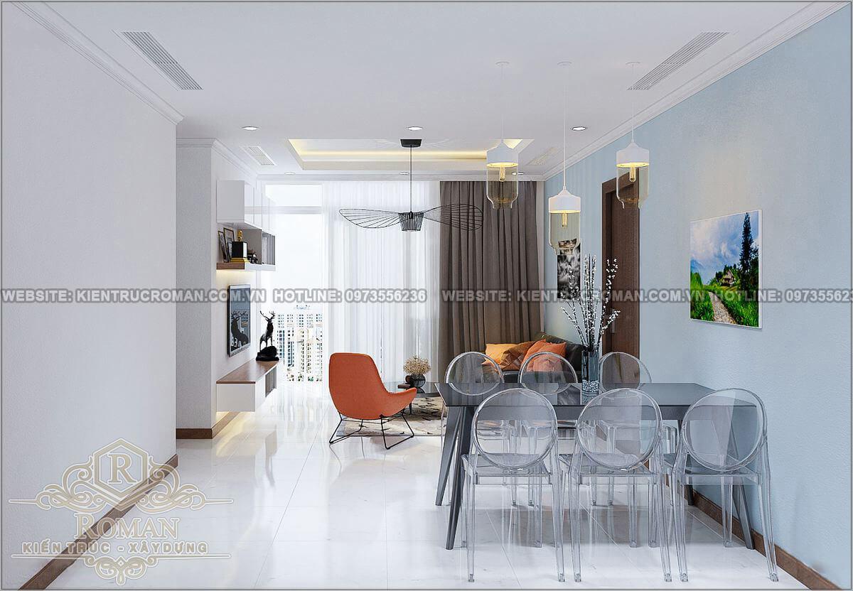 phòng ăn thiết kế căn hộ 2 phòng ngủ