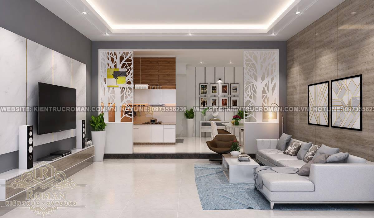 Phòng khách thiết kế căn hộ chung cư 50m2