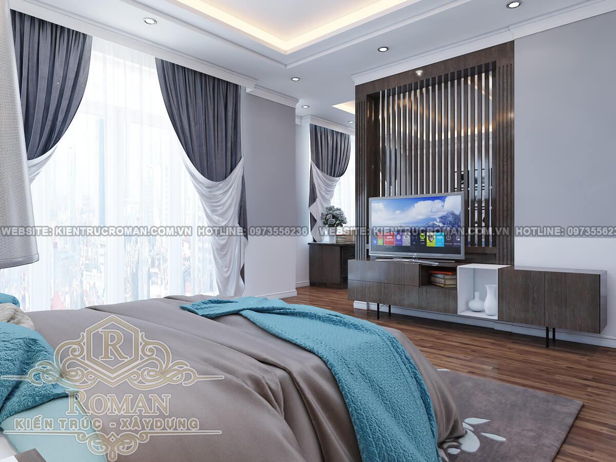 phòng ngủ master thiết kế căn hộ chung cư 50m2