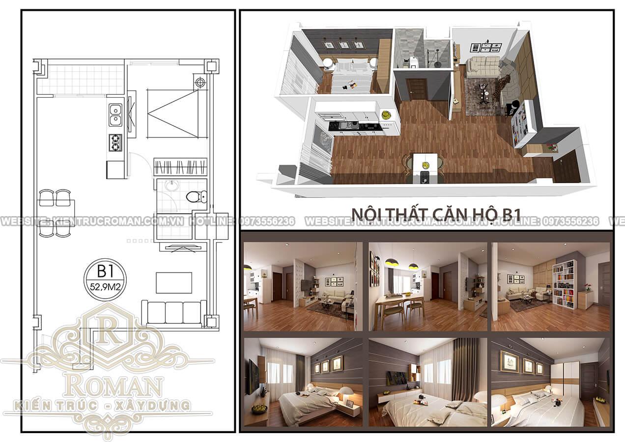 thiết kế căn hộ chung cư 60m2 1