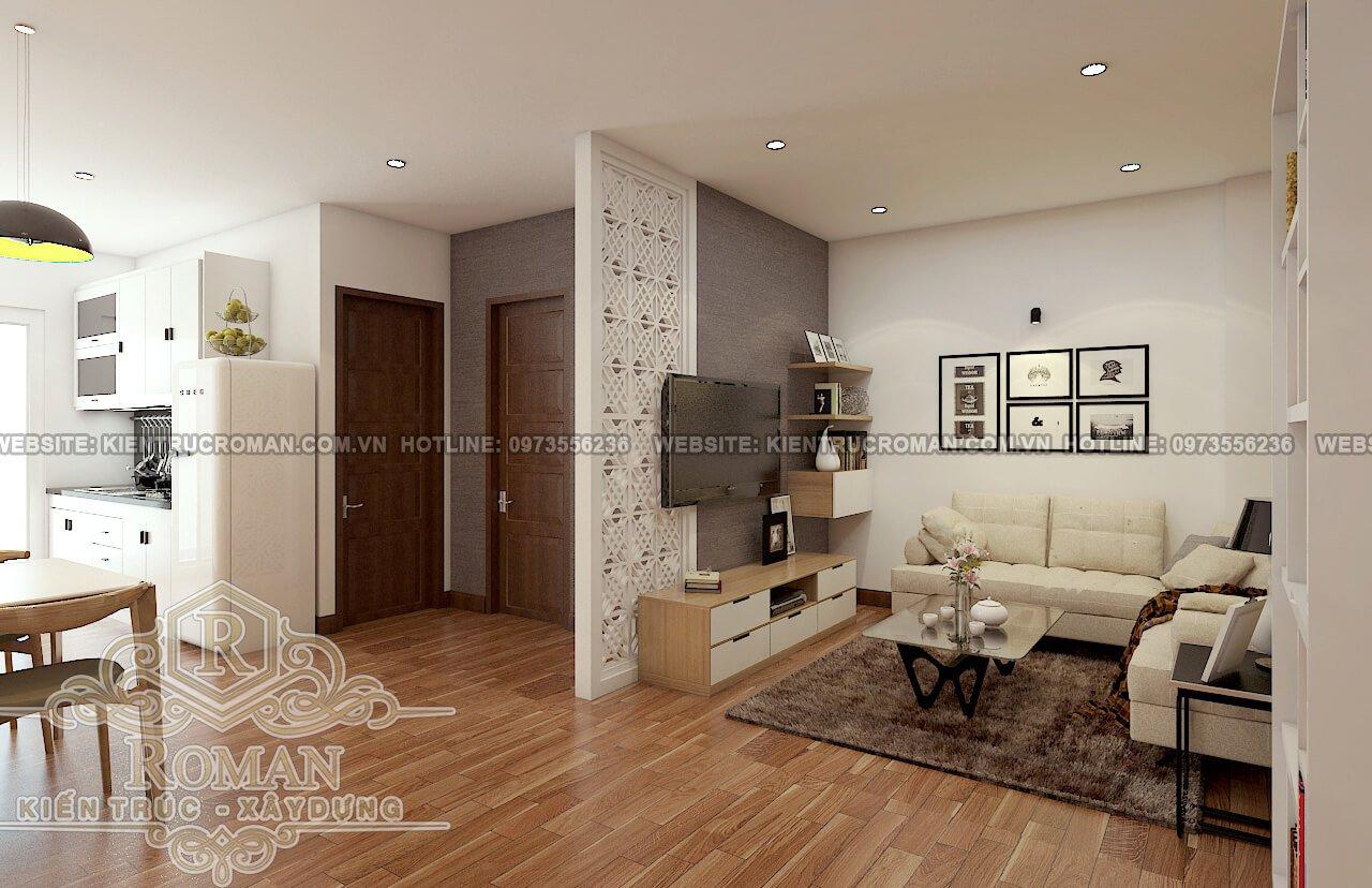 phòng khách thiết kế căn hộ chung cư 60m2