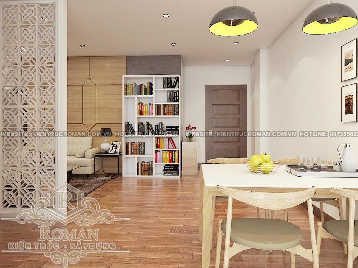 phòng ăn thiết kế căn hộ chung cư 60m2