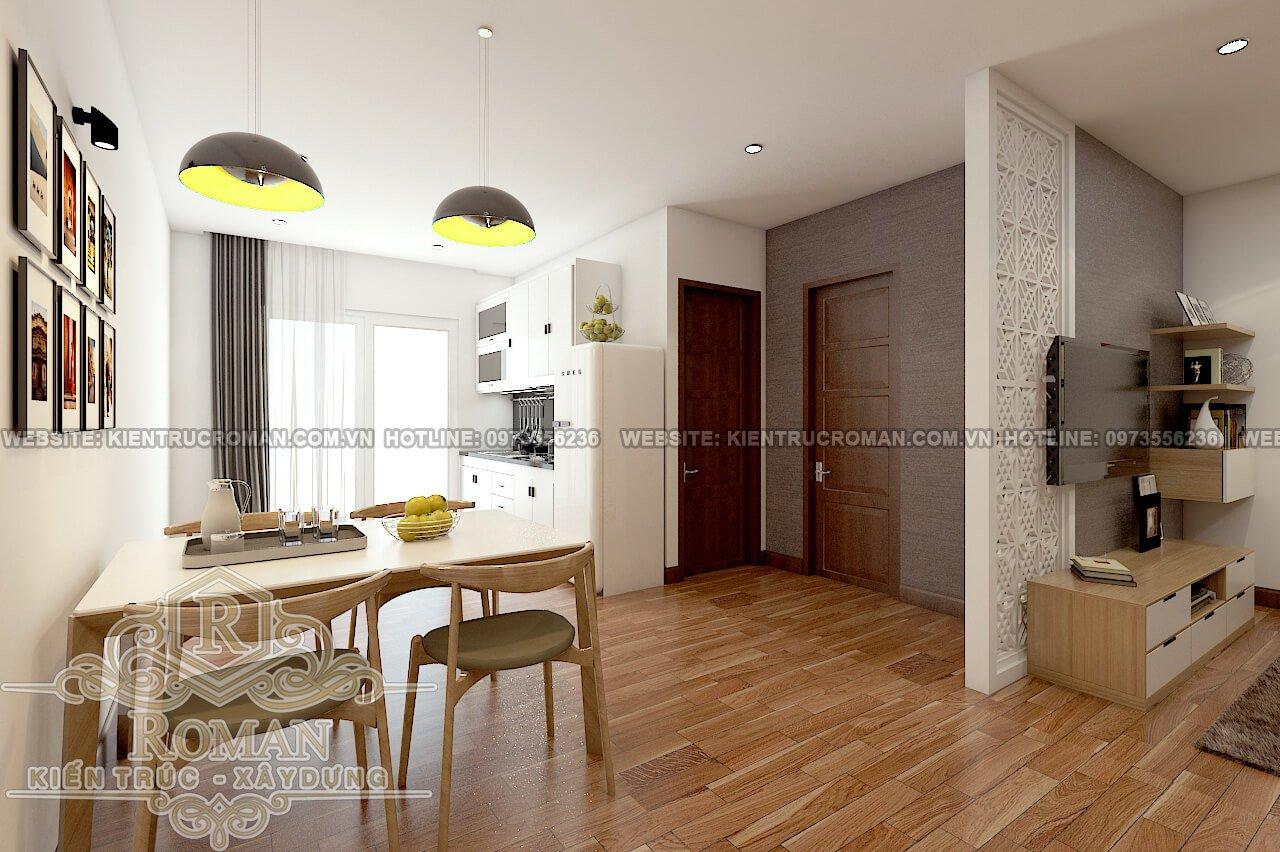 phòng bếp, ăn thiết kế căn hộ chung cư 60m2