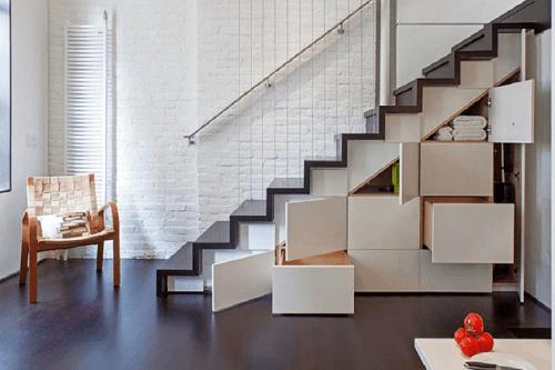 thiết kế cầu thang nhà lệch tầng 14