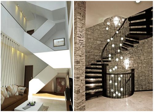 thiết kế cầu thang nhà lệch tầng 2
