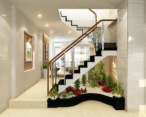thiết kế cầu thang nhà lệch tầng 3