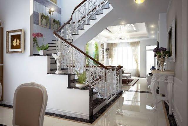 thiết kế cầu thang nhà lệch tầng 8