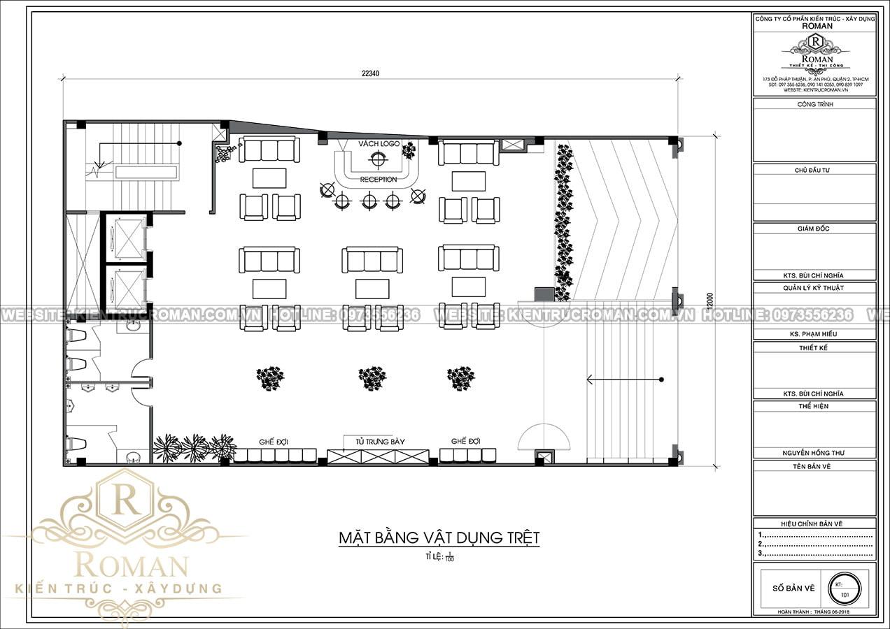 mặt bằng tầng trệt thiết kế khách sạn 3 sao