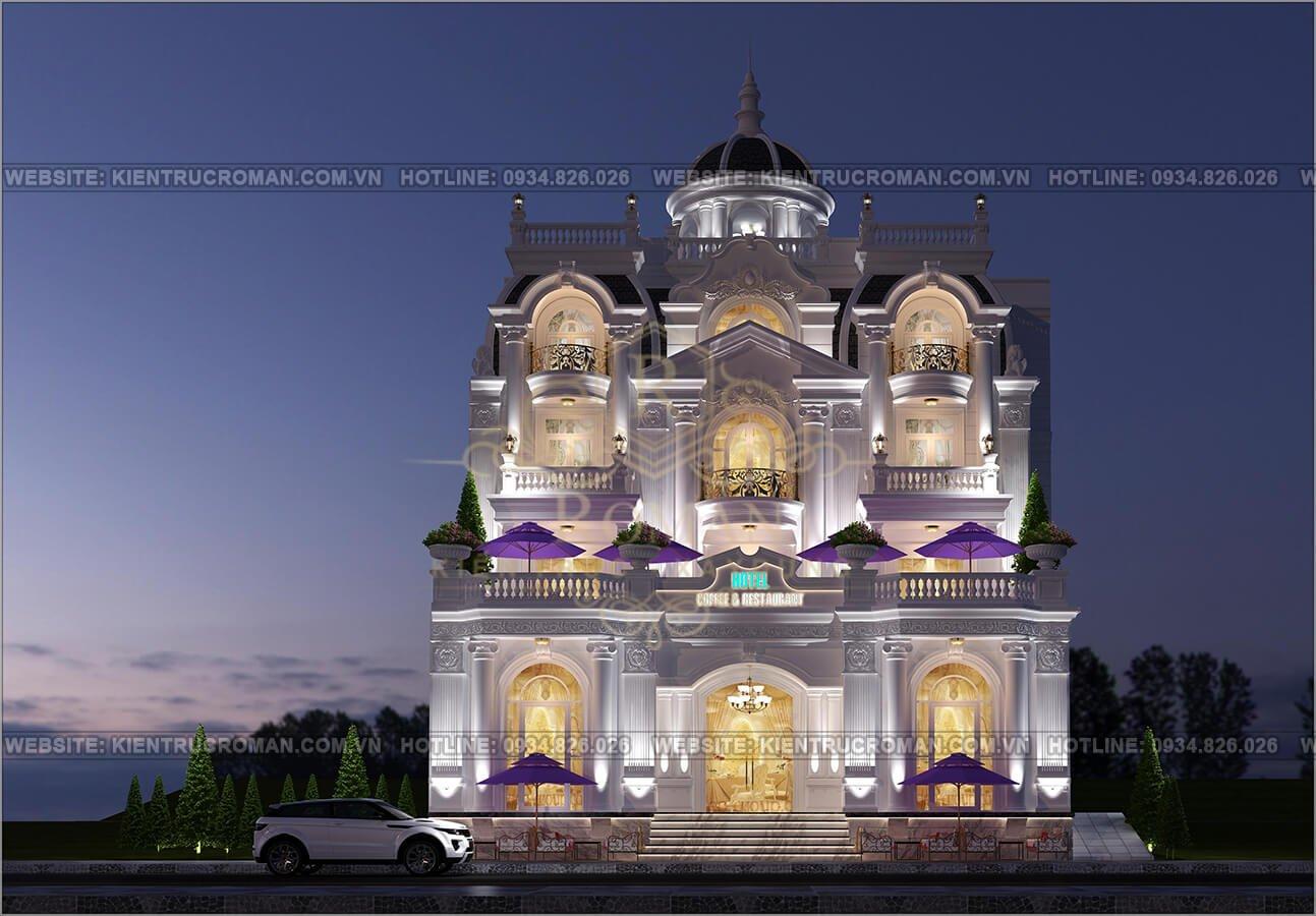 thiết kế khách sạn cổ điển phối cảnh kiến trúc