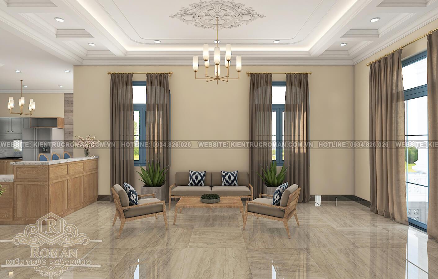thiết kế khách sạn kiểu pháp phòng khách