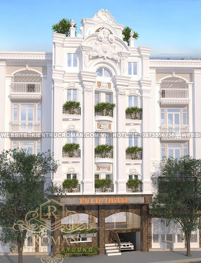 mặt tiền thiết kế khách sạn phong cách tân cổ điển tại đà lạt