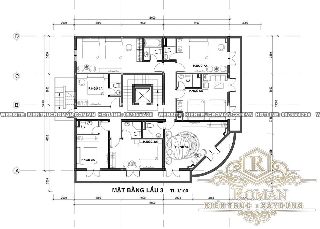 mặt bằng lầu 3 thiết kế khách sạn tân cổ điển