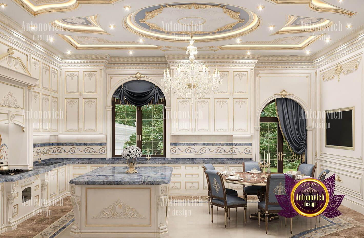 thiết kế lâu đài dinh thự đẹp phòng bếp