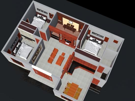 mẫu thiết kế nhà 1 tầng 3 phòng ngủ đẹp 16