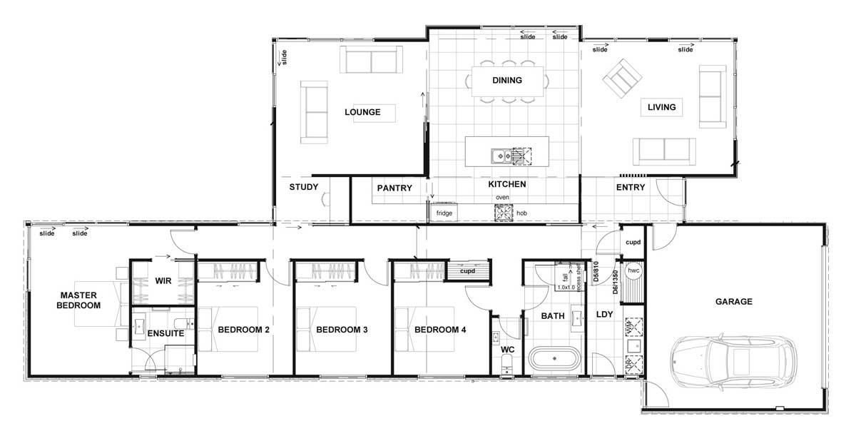 mẫu thiết kế nhà 1 tầng 4 phòng ngủ đẹp 3
