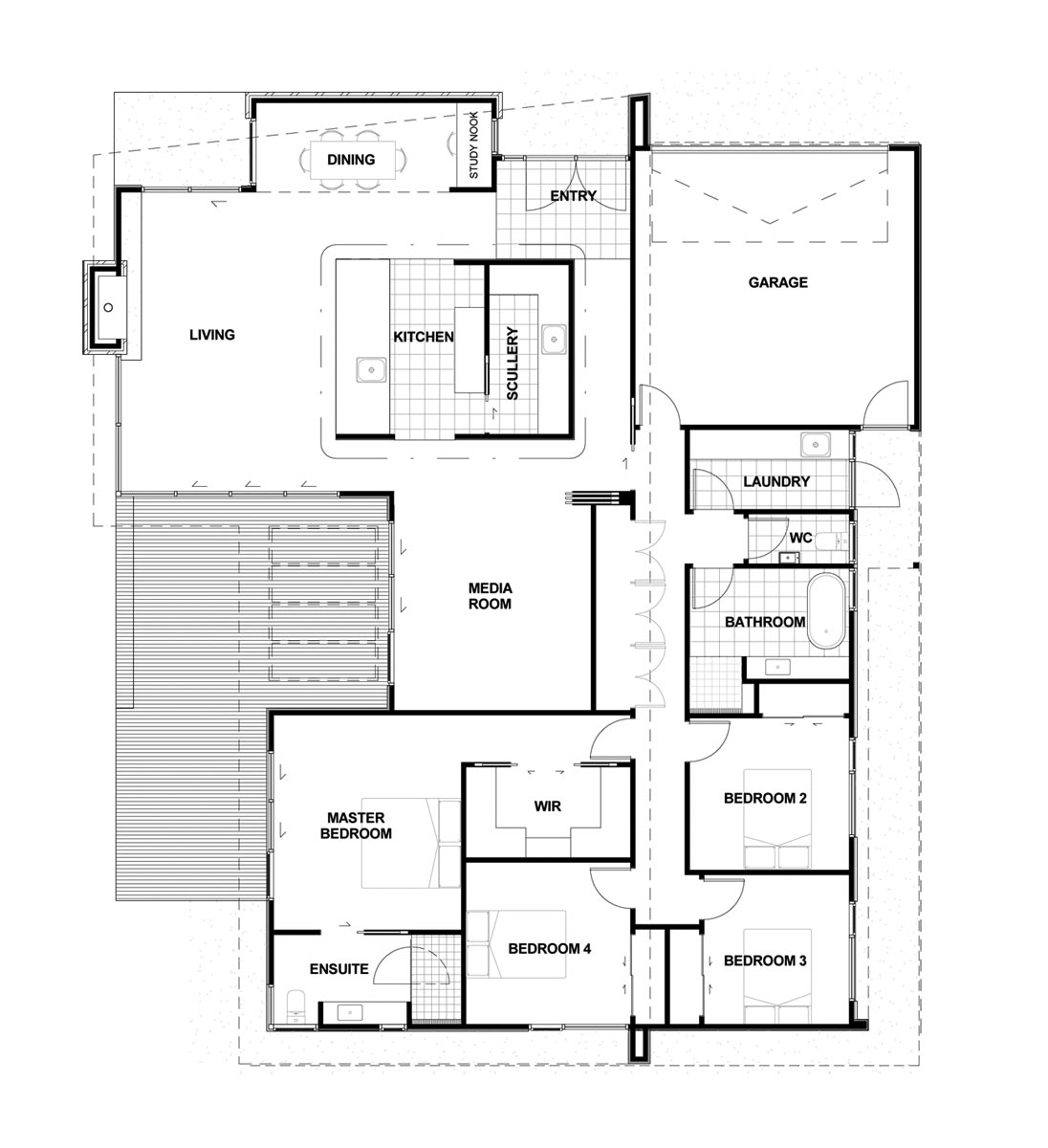 mẫu nhà 1 tầng 4 phòng ngủ đẹp 6