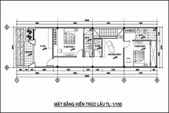thiết kế nhà 1 trệt 1 lầu 5x20