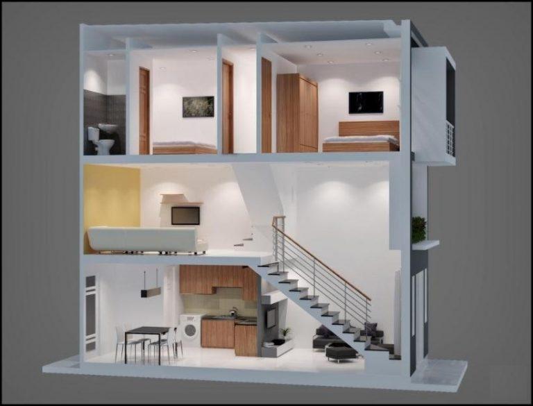 thiết kế nhà 2 tầng có gác lửng 19