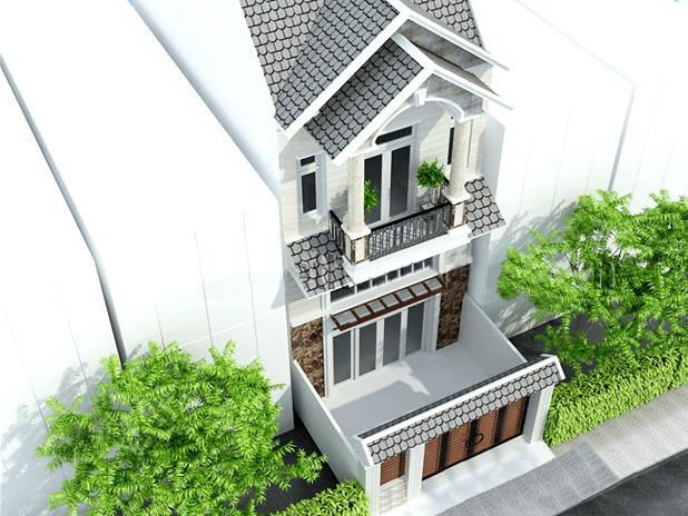 thiết kế nhà 2 tầng có gác lửng 2