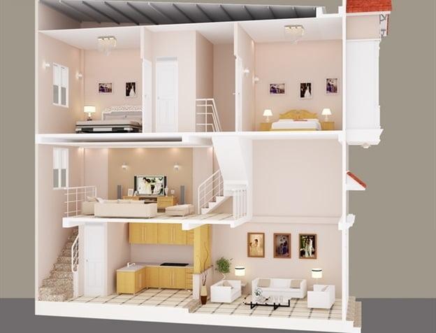 thiết kế nhà 2 tầng có gác lửng 22
