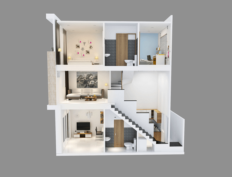 thiết kế nhà 2 tầng có gác lửng 24