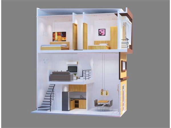 thiết kế nhà 2 tầng có gác lửng 25