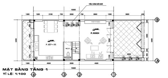 thiết kế nhà 2 tầng có gác lửng 3