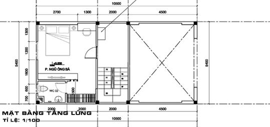 thiết kế nhà 2 tầng có gác lửng 4