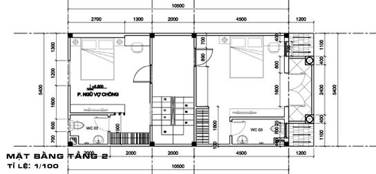 thiết kế nhà 2 tầng có gác lửng 5