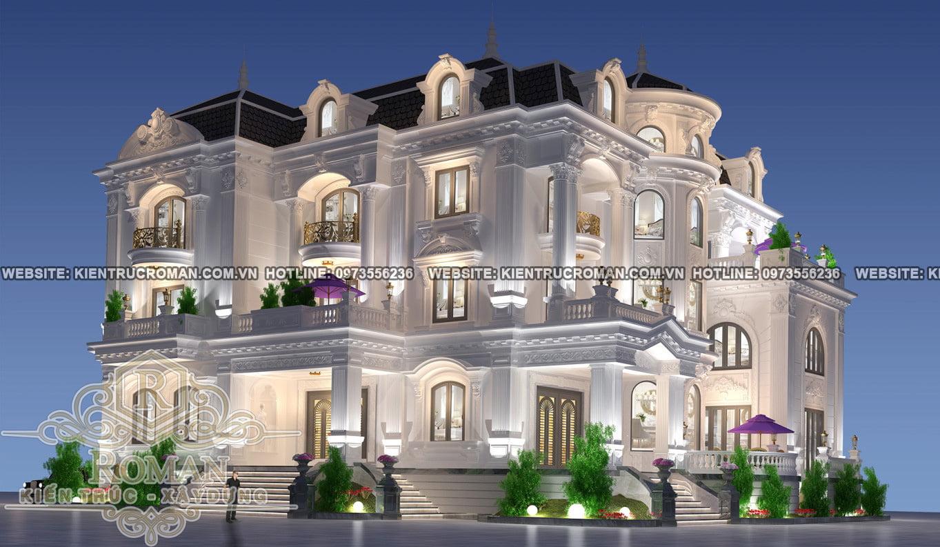 mặt tiền thiết kế nhà biệt thự đẹp phong cách cổ điển