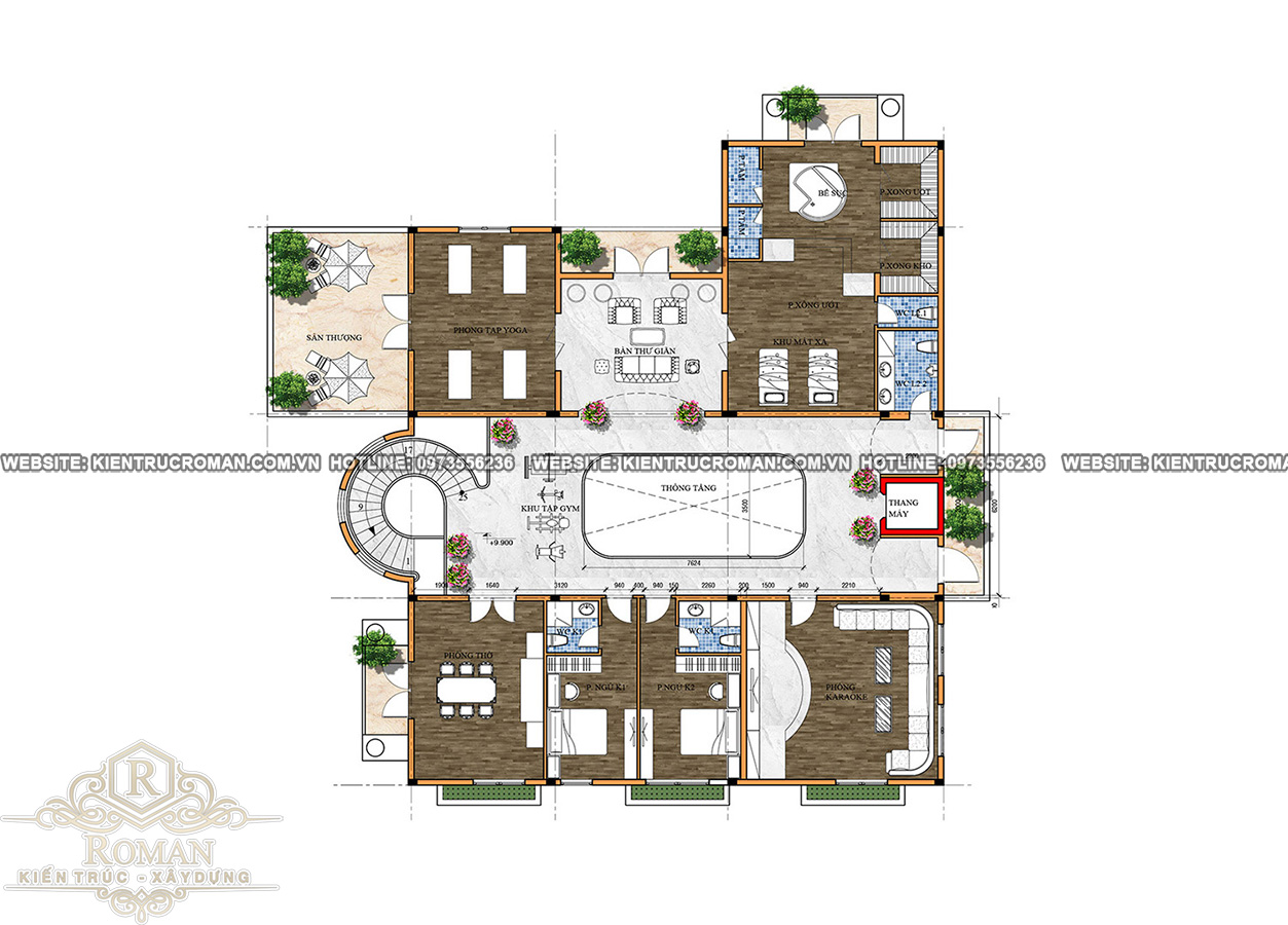 lầu 2 thiết kế nhà biệt thự đẹp phong cách cổ điển
