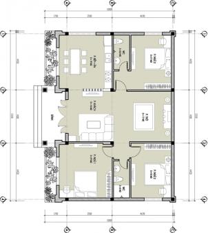 thiết kế nhà cấp 4 có phòng thờ 4