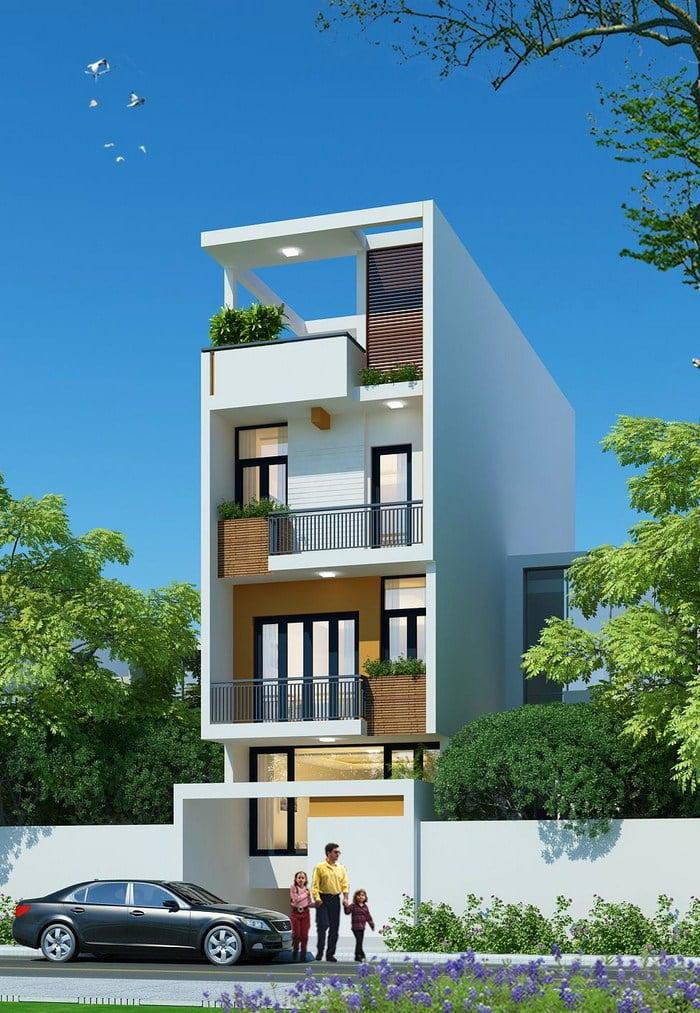 Thiết kế nhà có tầng hầm 5x20 3 tầng đẹp 1