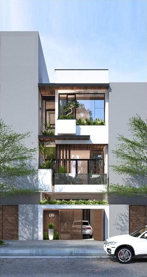 Thiết kế nhà có tầng hầm 5x20 3 tầng đẹp 16