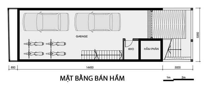 Thiết kế nhà có tầng hầm 5x20 3 tầng đẹp 2