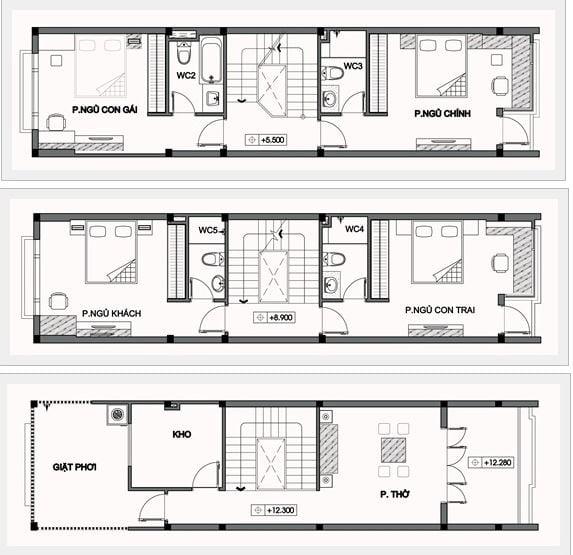 Thiết kế nhà có tầng hầm 5x20 3 tầng đẹp 4