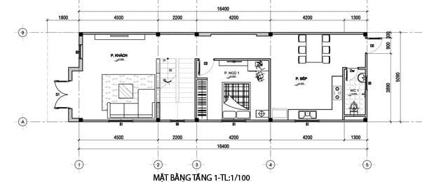 bản vẽ thiết kế nhà đẹp 5x15 1 trệt 1 lầu