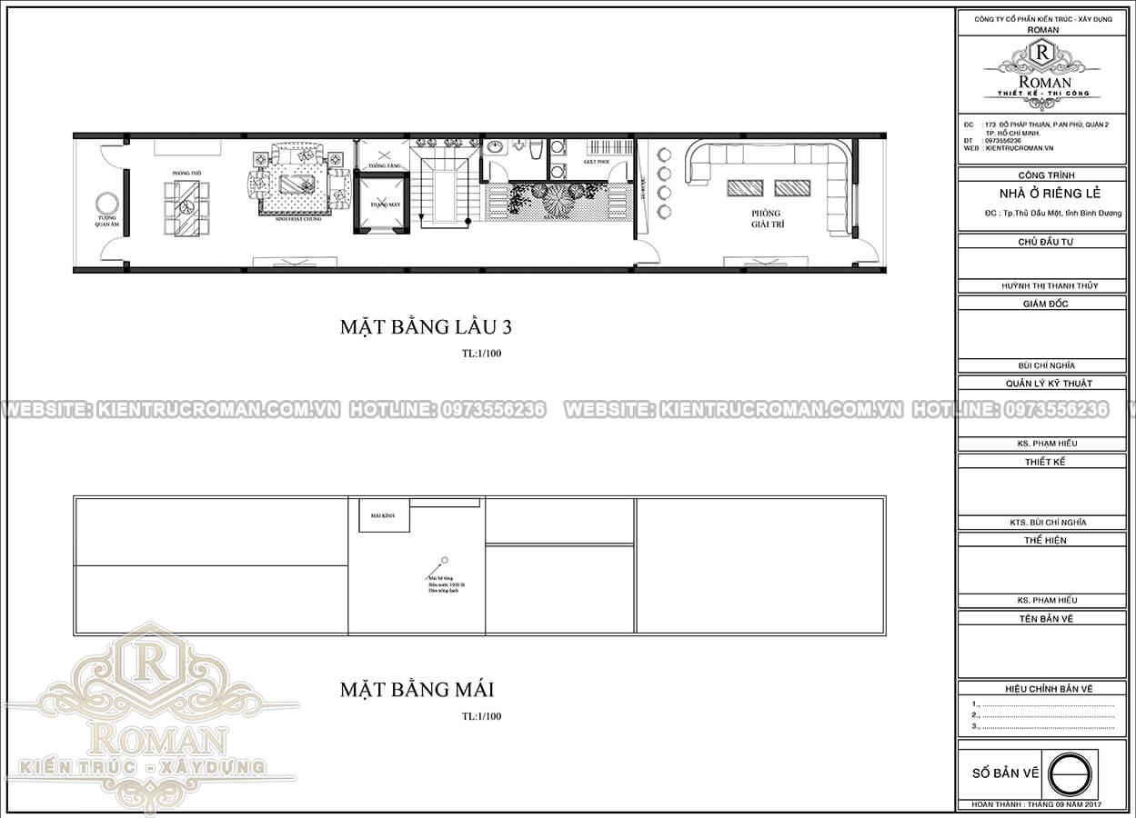 mặt bằng lầu 3, áp mái thiết kế nhà phố mặt tiền kinh doanh