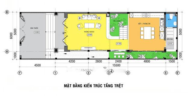 thiết kế nhà ngang 6m dài 20m 11