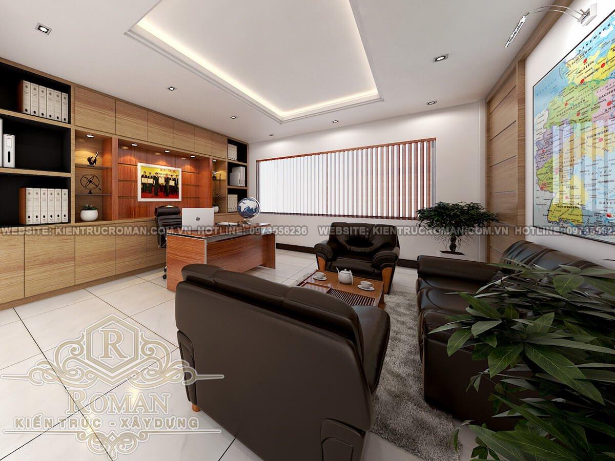 phòng giám đốc thiết kế nhà ở kết hợp văn phòng cho thuê