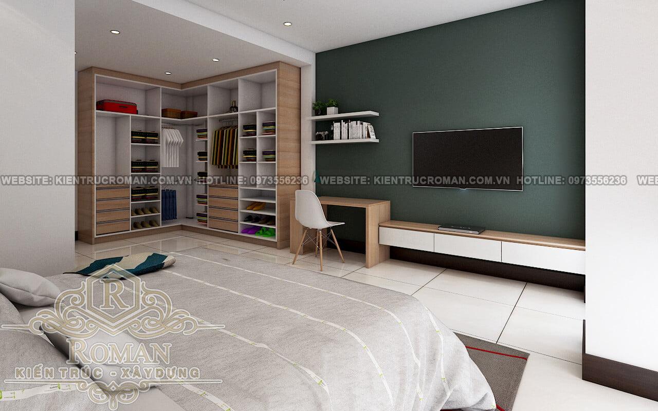 phòng ngủ thiết kế nhà ở kết hợp văn phòng cho thuê