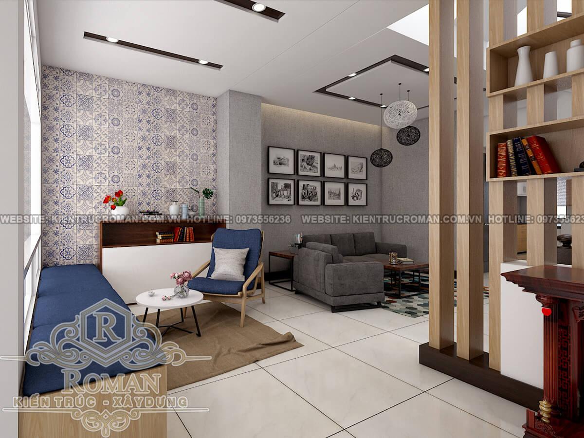 tầng trệt thiết kế nhà ở kết hợp văn phòng cho thuê