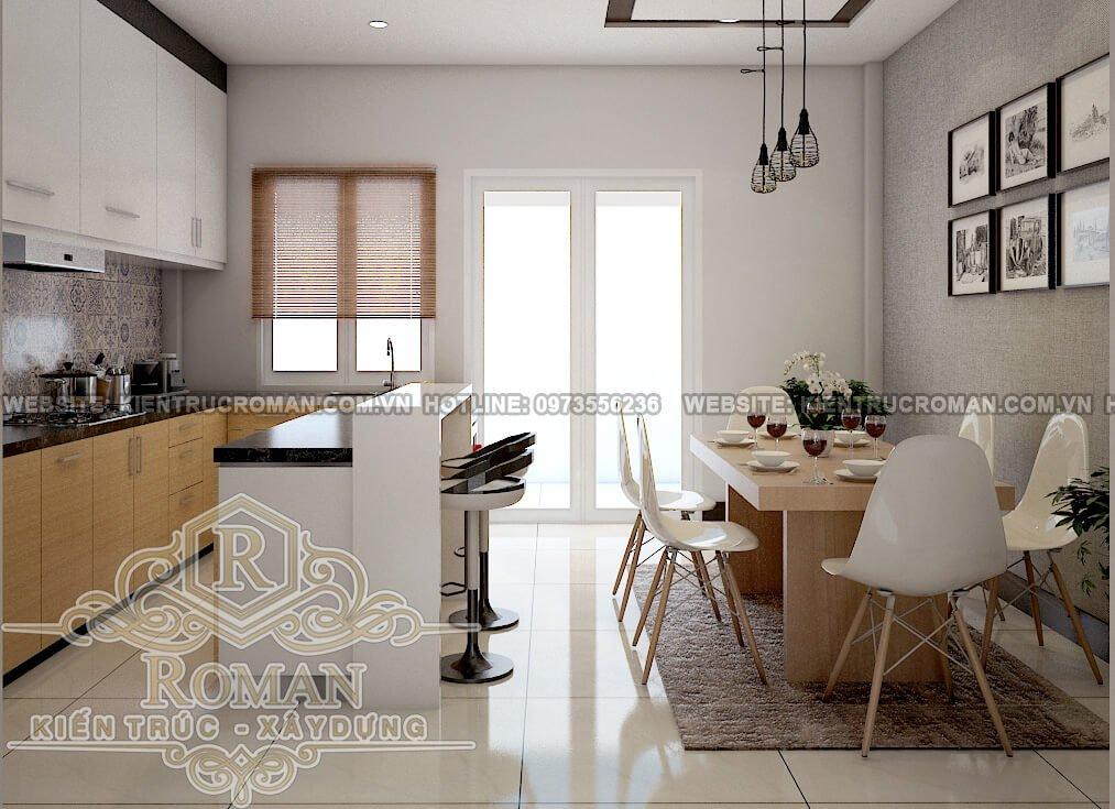 phòng bếp, phòng ăn thiết kế nhà ở kêt hợp văn phòng cho thuê