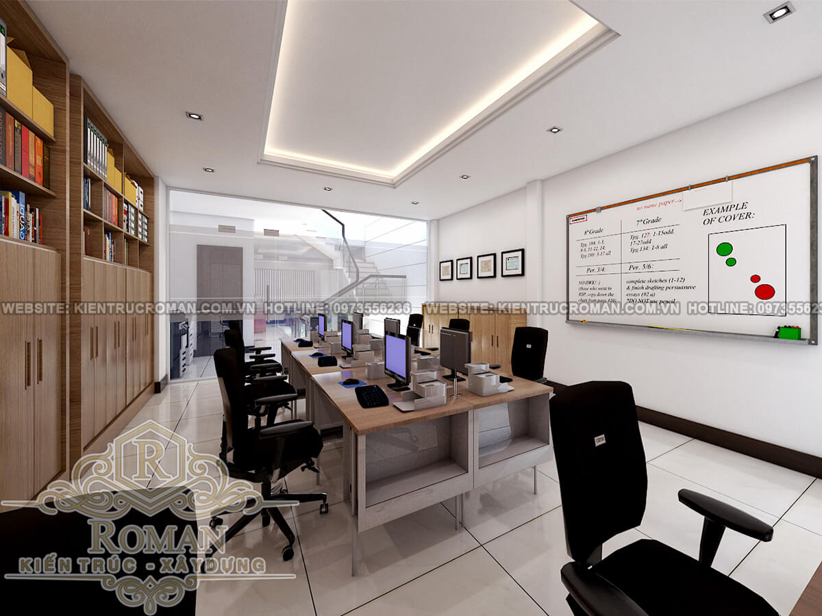 phòng nhân viên thiết kế nhà ở kết hợp văn phòng cho thuê
