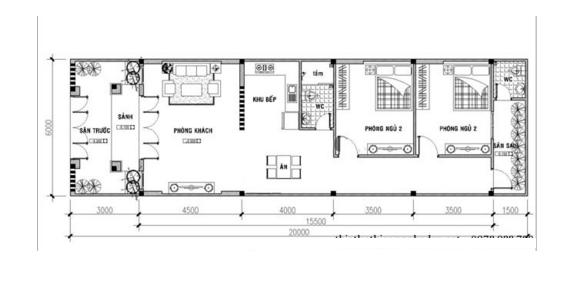 thiết kế nhà ống 1 tầng 11