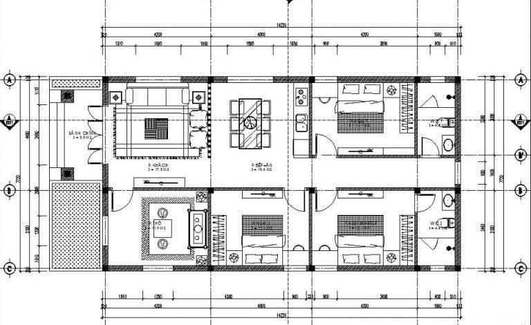 thiết kế nhà ống 1 tầng 10